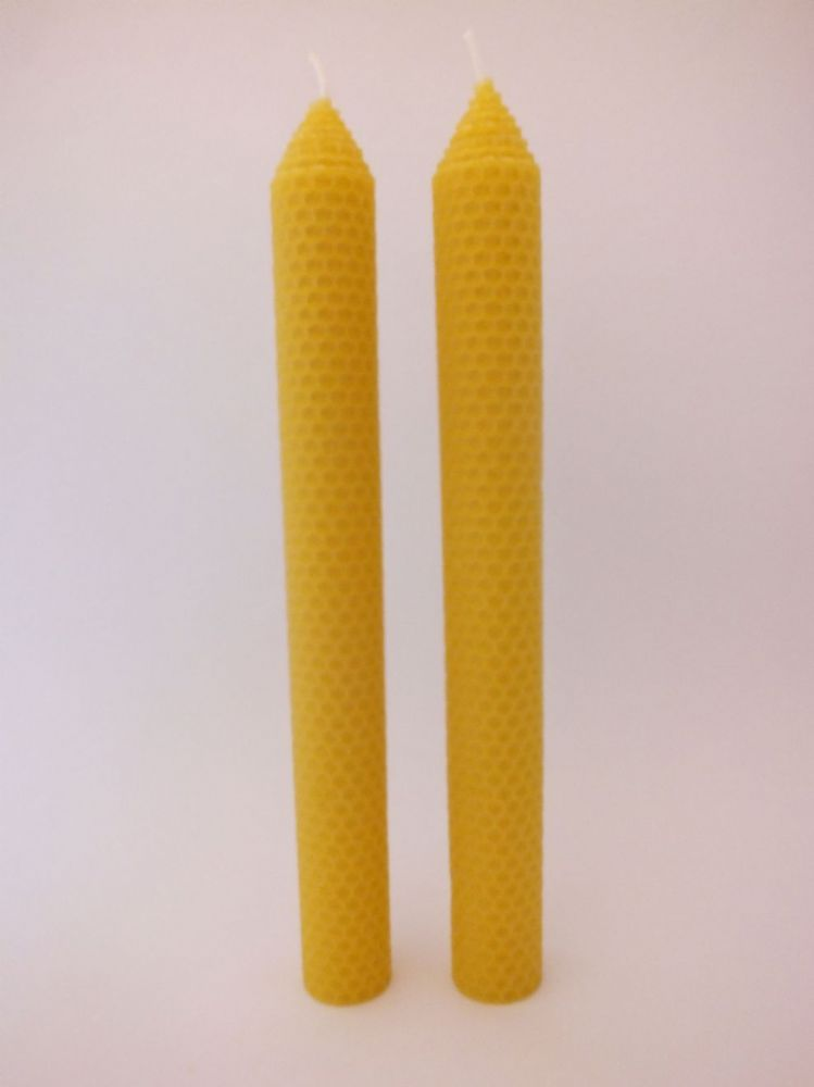 2 Handmade Pure Beeswax Rolled Pillar Candles  27.5cm x 3cm (Free Shipping UK)